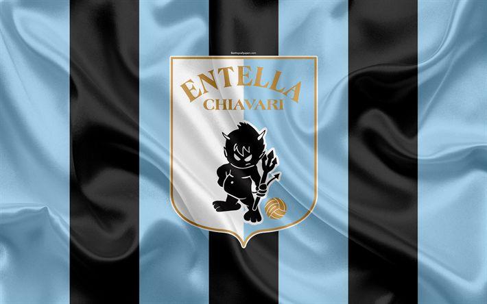 Download wallpapers Virtus Entella FC, 4k, Serie B, football, silk texture, emblem, silk flag, Entella logo, Italian football club, Chiavari, Italy