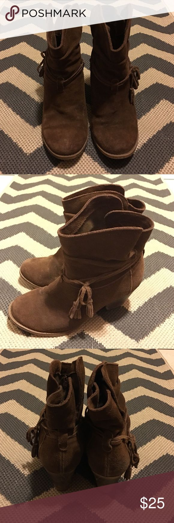 Short Suede Brown Cowboy Boots Size 8 Super comfortable short Cowboy booties. Gently worn and overall in good shape. MIA Shoes Ankle Boots & Booties
