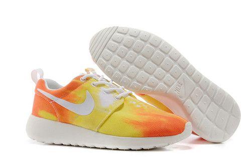 28f40220b1af Womens Nike Roshe Run Print Sunset White White Atomic Mango Shoe