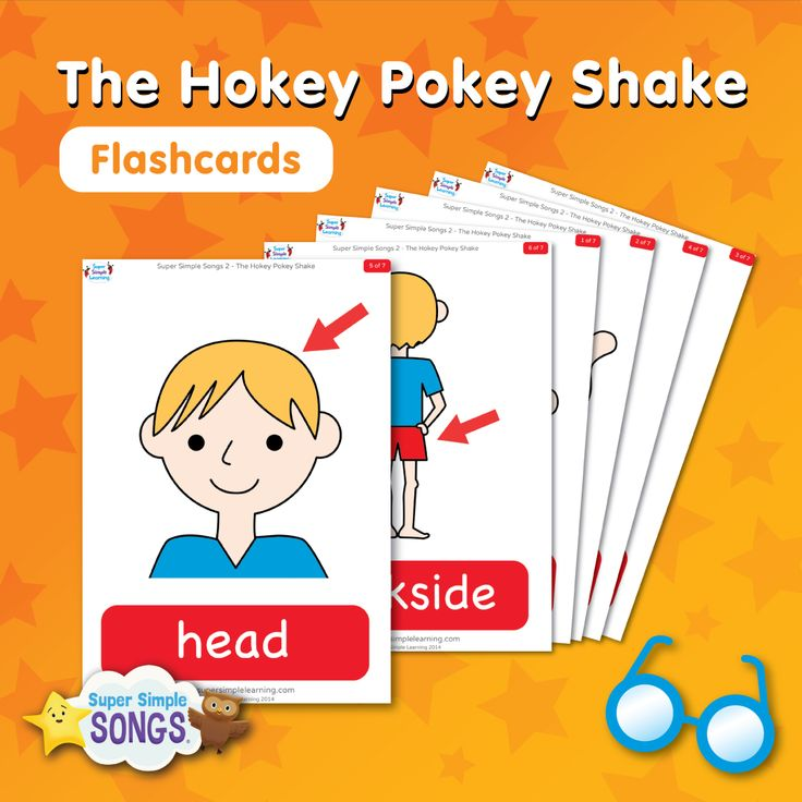 Practice parts of the body vocabulary with free flashcards for The Hokey Pokey Shake. Super fun dance song for kids from Super Simple Songs.