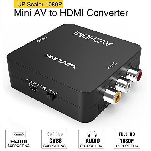 RCA to HDMI Converter,Wavlink 1080p 3RCA to HDMI CVBS AV Composite Video Audio Adapter with USB Charge Cable Support 1080P for PC Laptop Xbox PS4 PS3 TV STB VHS VCR Camera DVD - Wavlink AV to HDMI Converter The Mini AV2HDMI Converter is a universal converter for analog composite input to HDMI 1080P (60Hz) output,which provides a good solution to help your old RCA/AV device to the new HDMI equipment. Works great with either 720p or 1080p, the converter has a switch...