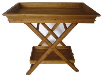 Foldable Wooden Serving Tray / Butlers Tray w/ Stand and Bottom Shelf #HD221914 traditional-tv-trays