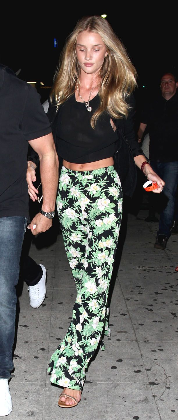 Spotted - Rosie Huntington Whiteley rocking tropical pants.