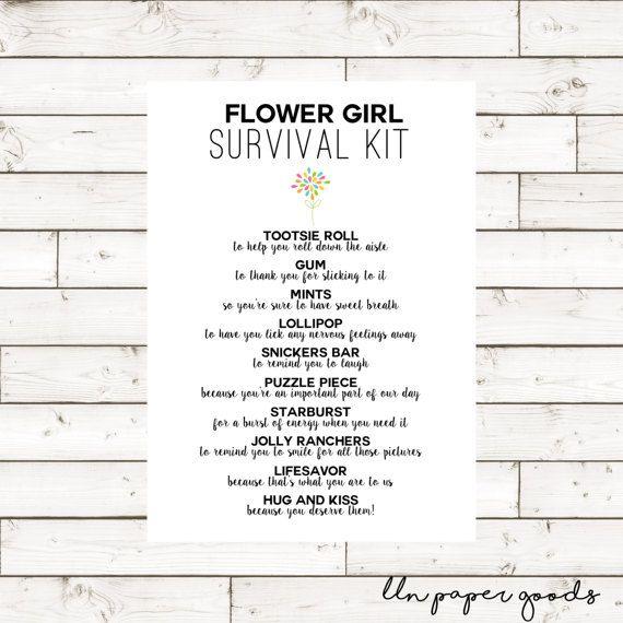 Flower Girl Survival Kit 5x7 Instant Download by llnpapergoods