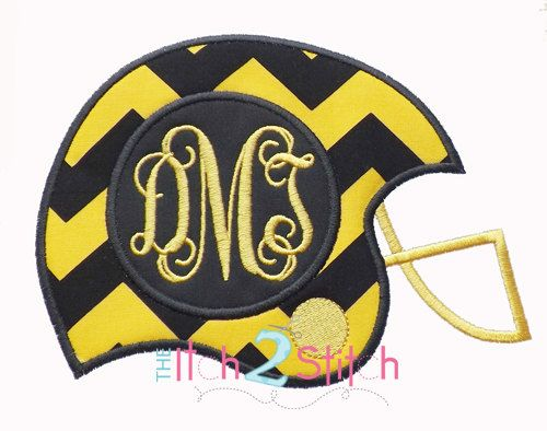 """Football Helmet Monogram Applique Design Sizes 4x4, 5x7 and 6x10, shown with """"Intertwined"""" Font NOT Included, INSTANT DOWNLOAD on Etsy, $4.00"""