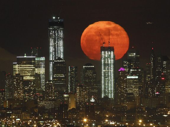 supermoon over nyc yesterday night.: Lower Manhattan, Super Moon, World Trade Center, West Orange, Full Moon, New York, Photo, Supermoon, New Jersey
