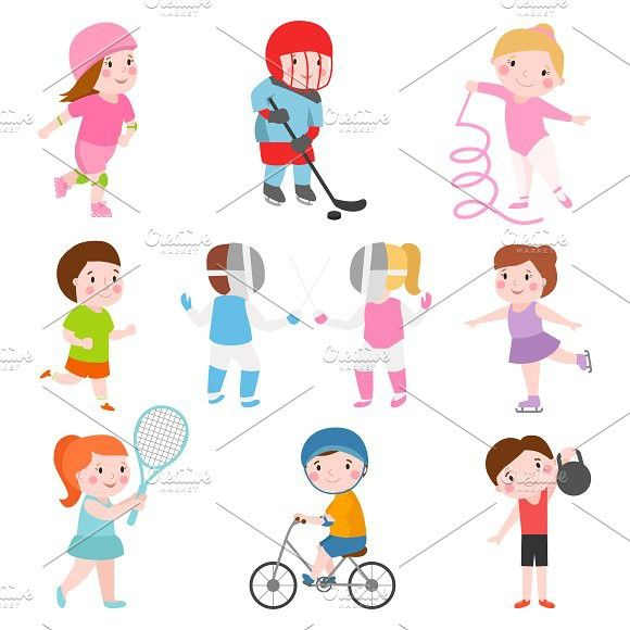 Sport Kids Characters Vector Set Kids Sports Kid Character Sports Activities For Kids