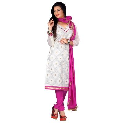 Gorgeous White & Pink Coloured Embroidered Salwar Kameez Comes With Pink color Cotton Bottom,Pink Color Naznin Dupatta.This suit which can be customzied up to bust size ,Top length 2 M Botton Length 2 M Dupatta Length 2 M