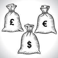 Денежные мешки, доллары, евро и фунт. Вектор.