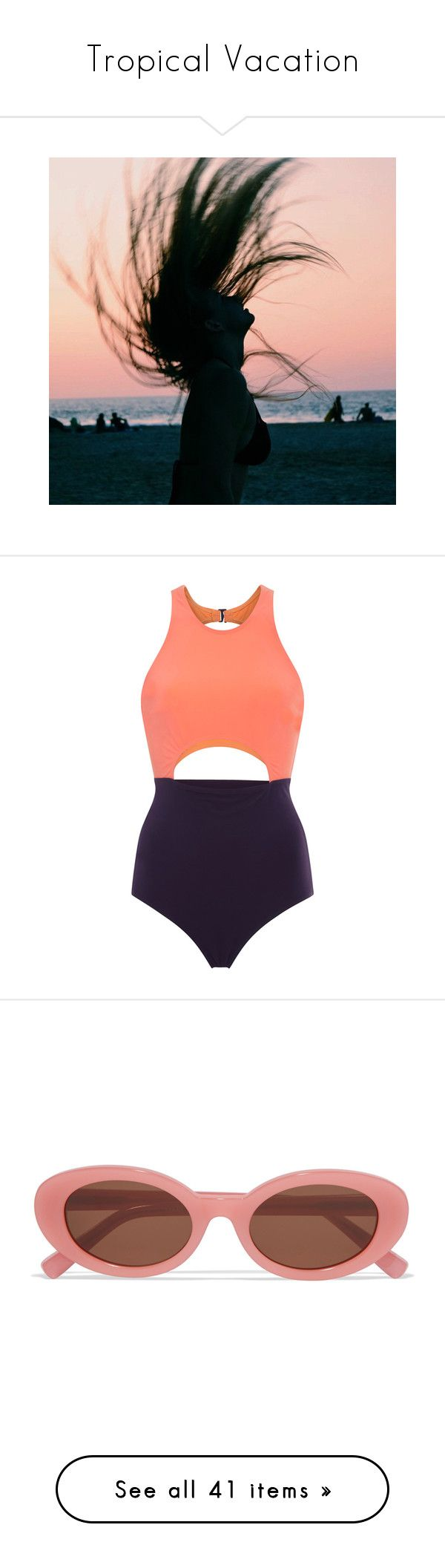 """Tropical Vacation"" by hanraven ❤ liked on Polyvore featuring swimwear, one-piece swimsuits, dark purple, tank swimsuit, 1 piece bathing suits, one piece cutout bathing suit, maillot swimsuit, cut out bathing suit, accessories and eyewear"
