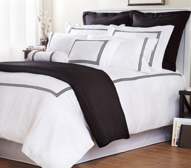 wonderful gray green bedroom bedding | white comforter with black trim in 2019 | White duvet ...