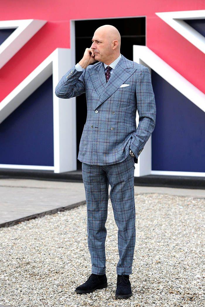 Bald Head × Windowpane suit peak lapel suede navy chukka