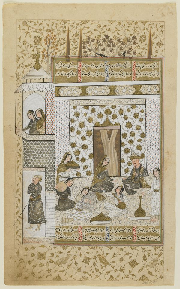 Iran - Folio from a <i>Khamsa</i> (Quintet) by Nizami (d.1209); Bahram Gur and the princess in the white pavilion
