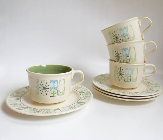 Mid Century Atomic Taylorstone Cathay Teacups and Saucers Set of 4 Aqua Blue Atomic China Sage Green Interior Tea Cups Taylor Smith Made USA