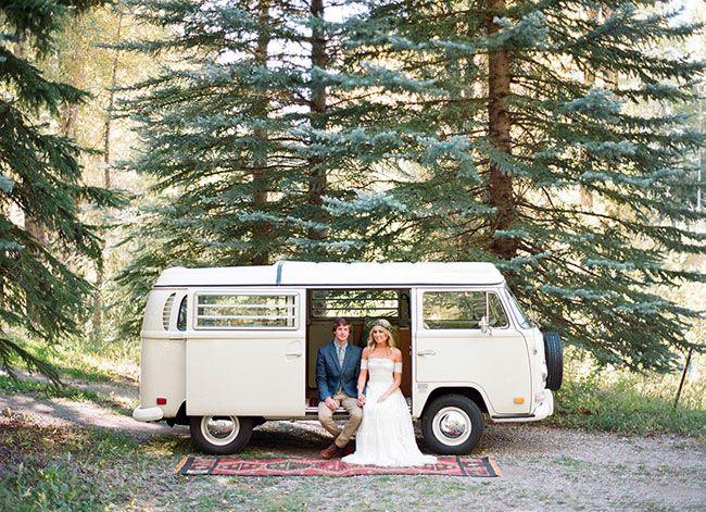 Bohemian Aspen elopement. Love this vintage VW bus!