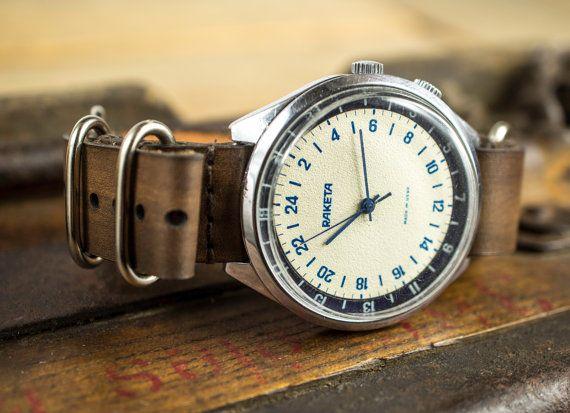 RARA Raketa 24 horas Vintage reloj masculino Cohete por SovietHouse