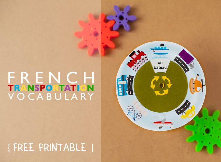 Gus On The Go French Transportation Vocabulary Wheel Printable