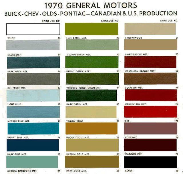 1970 Canadian Color Chart | Work | Pinterest | Colour chart, Buick ...