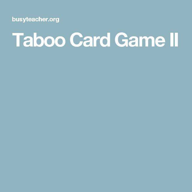 Taboo Card Game II