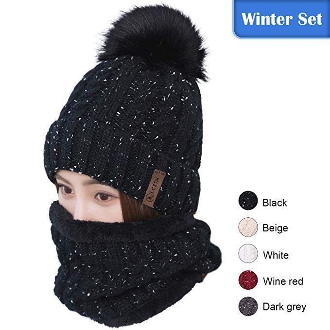 20722e1e4 LCZTN Womens Pom Beanie Hat Scarf Set Girls Cute Winter Ski Hat ...