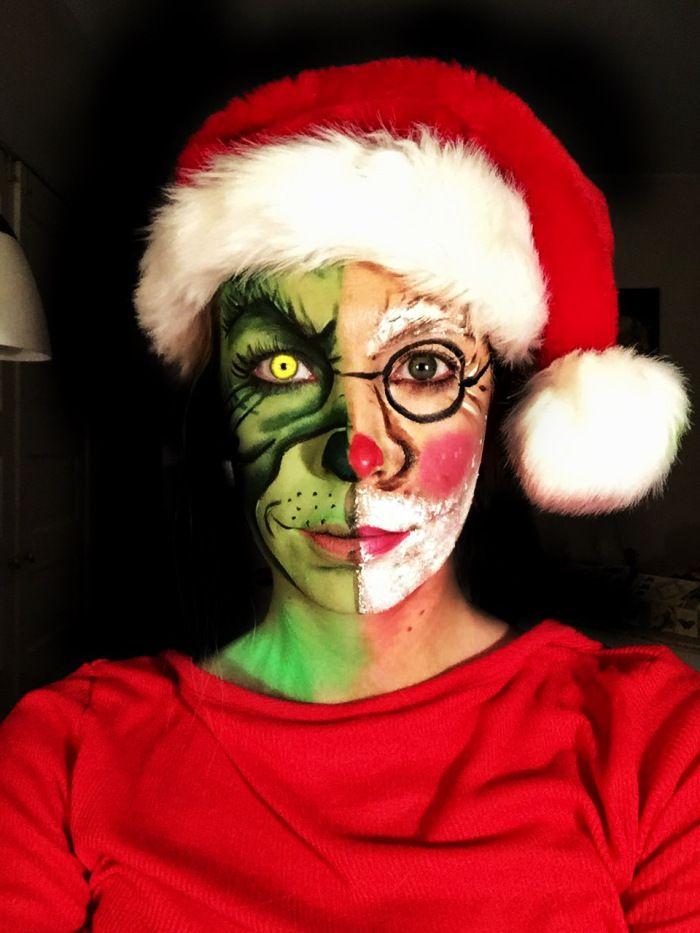 Half Grinch/Half Santa Makeup by Chriss Knight www.chrissknight.com/makeup