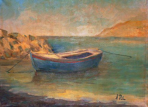 Barca a Bagnoli (Napoli Italia). Anno 1980. Dipinto dal vero. Olio su tela. Dim. cm. 30 x cm 40.