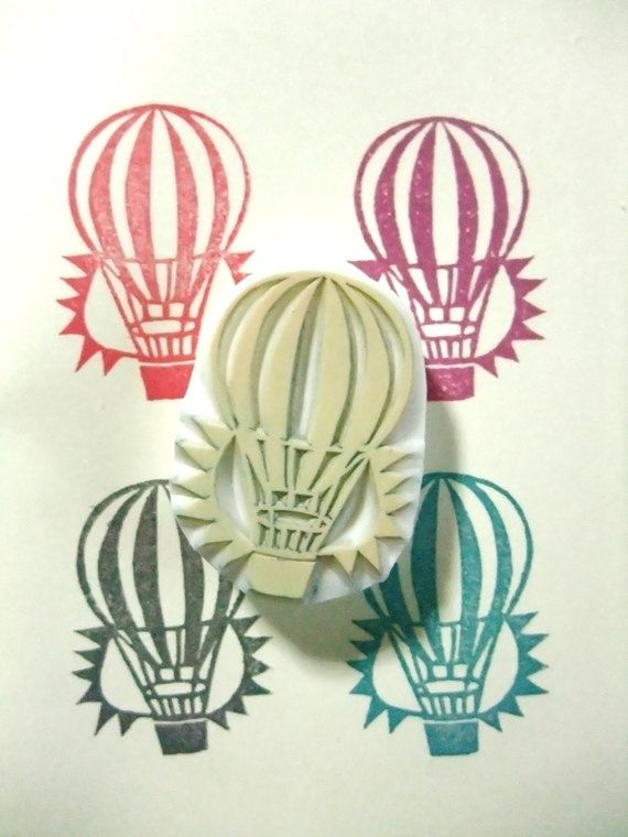 HOT AIR BALLOON.  hand carved rubber stamp. travel.  fantasy. grand tour.. $10.00, via Etsy.