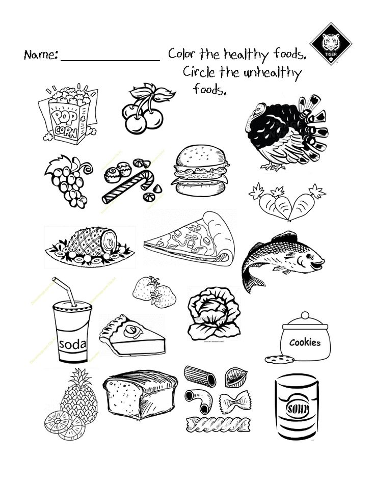 Healthy vs Unhealthy food choices worksheet.  Use it as a warm up activity while talking about good eating habits.