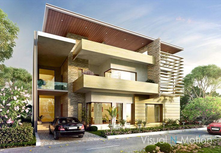 duplex house landscape green