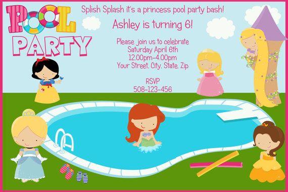 SALE  Princess Pool Party Custom DIGITAL by SandInMyShoesDesigns, $8.50