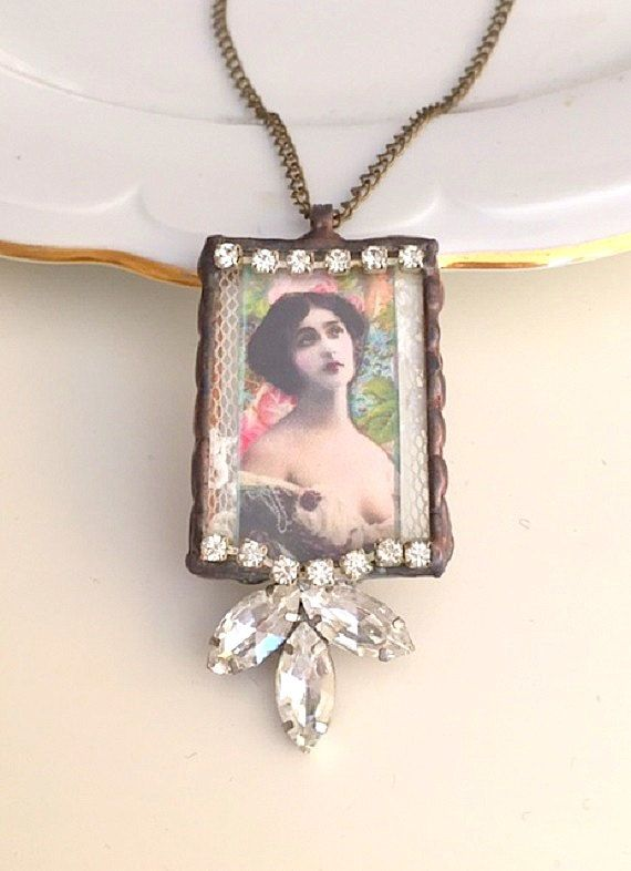 Soldered Jewelry Pendant assemblage necklace altered art