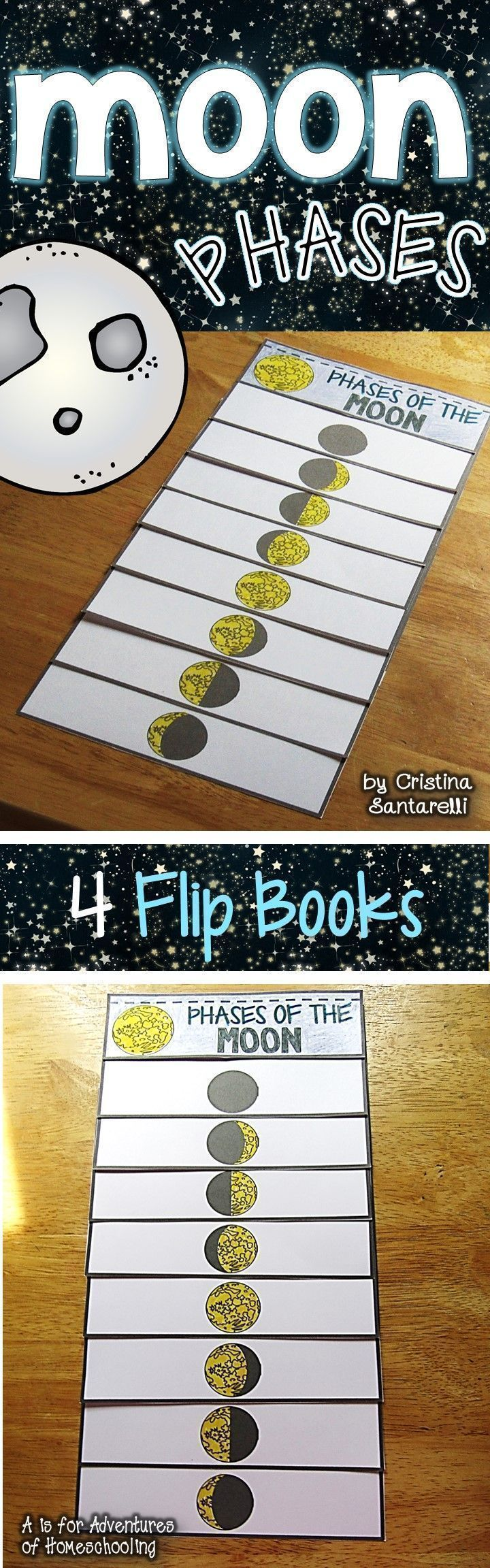 Moon Phases flip booklet features eight phases of the moon in total: new moon, waxing crescent, first quarter, waxing gibbous, full moon,, waning gibbous, last quarter, waning crescent.  The Moon Phases flip book includes 4 versions of the booklet. 1 wher