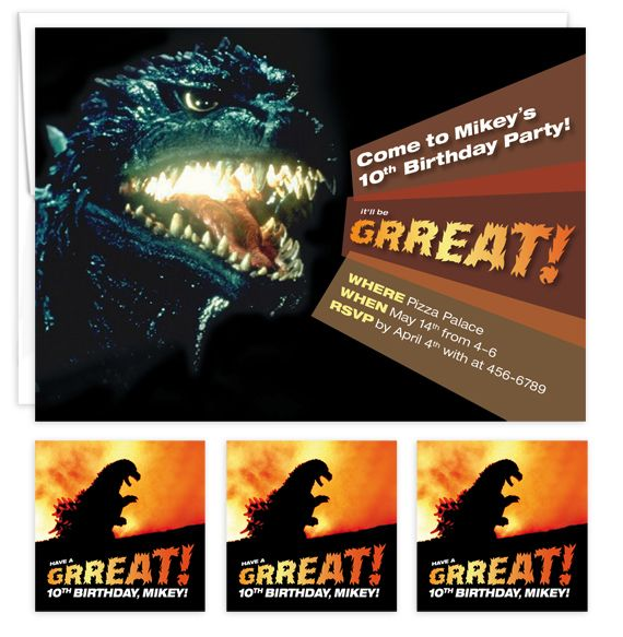 26 best kids birthday party invitations images on pinterest custom godzilla kids birthday party invitation stickers filmwisefo Choice Image