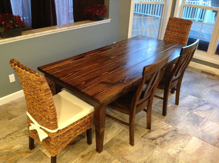 L x W Farmhouse Table with a traditional top and tapered legs stained  Dark Walnut  Pictured with two Elizabeth Dining Chairs and two Banana Leaf  Chairs. 212 best Farmhouse Tables images on Pinterest   Farmhouse table