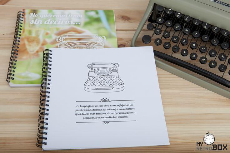 Uno de los elementos de una Retrobox Sí Quiero (cápsula del tiempo para bodas) es un libro de firmas para que los familiares y amigos dejen a los recién casados sus palabras más entrañables y sus mejores deseos para el futuro. #MyRetrobox #regalo #boda #recuerdos