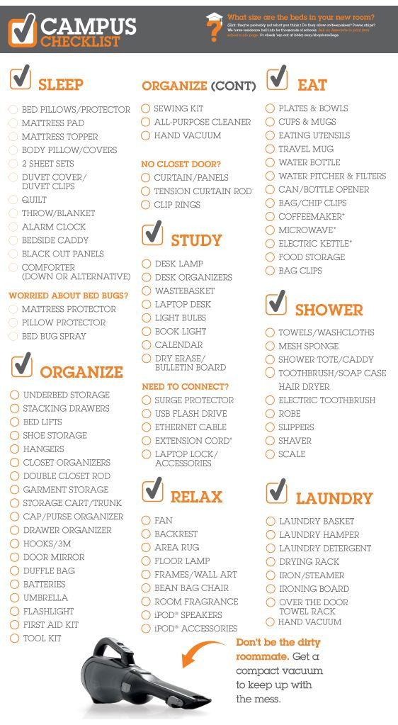 College Checklist from Bed Bath & Beyond. I'm not a freshie, so I shouldn't need this, but it could be helpful.