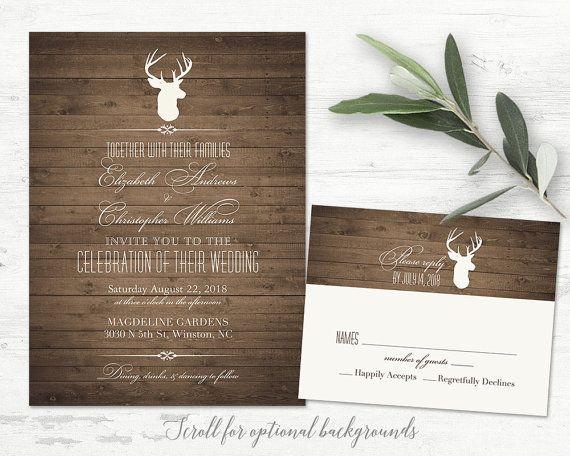 Rustic Deer And Antler Silhouette Vintage Wedding Invitation Set. The  Rustic Deer Wedding Invitation Has