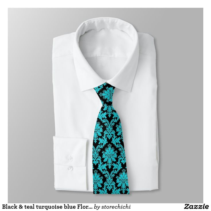 Black & #teal #turquoise blue Floral #Damask #Tie Black Victorian Floral Damask on teal turquoise blue background design.  Perfect gift for a stylish, elegant woman or man for birthday, Christmas, or any occasion.  2840b#   black+damask, teal, turquoise, blue, damask, victorian, floral+damask, black+blue, elegant, stylish, vintage, aqua