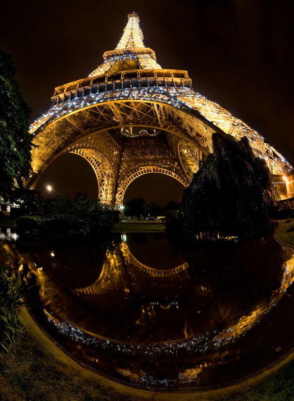 La tour Efel | Eiffel tower, reflection, Paris, night, lights
