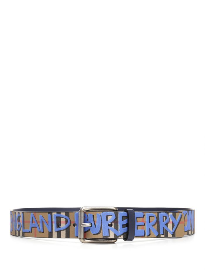 6c3cdf816d54 BURBERRY GRAFFITI PRINT AND TRADITIONAL CHECK LEATHER BELT.  burberry