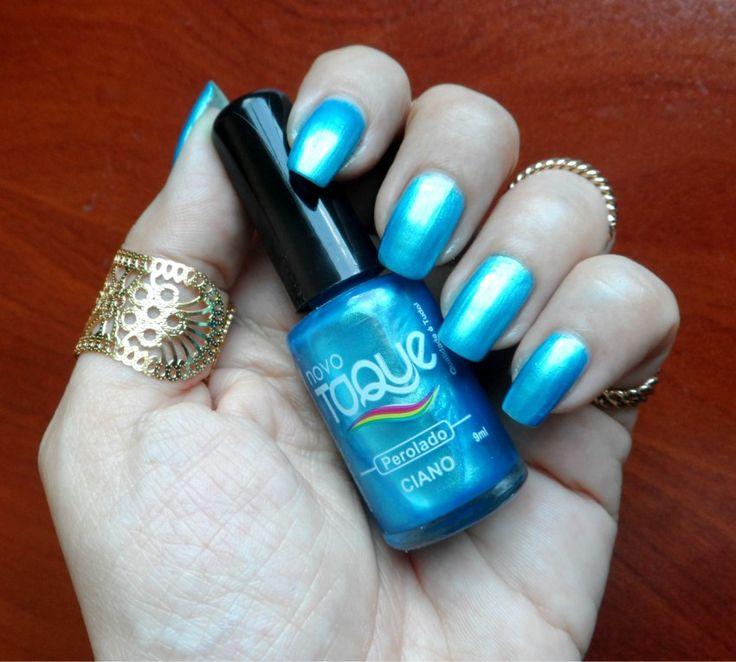 Esmalte azul perolado espetacular - Ciano Novo Toque