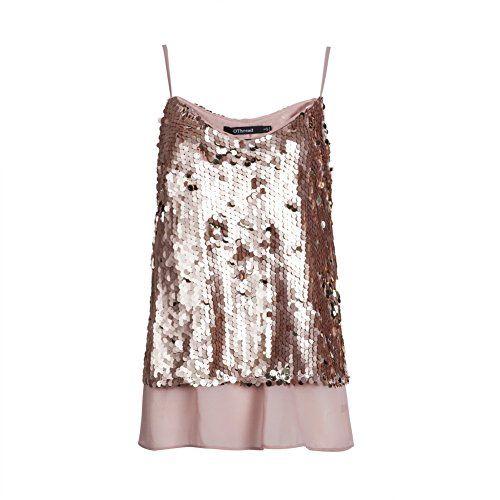 OThread Women's Glitter Sequins Strap Tank Top Cami Blouse (Medium, Rose Gold) * Read more @