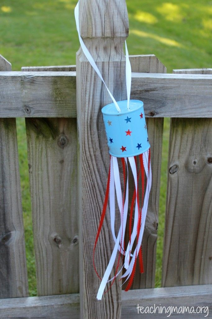 Upcycled Craft: Tin Can Windsock - a fun Independence Day decoration!