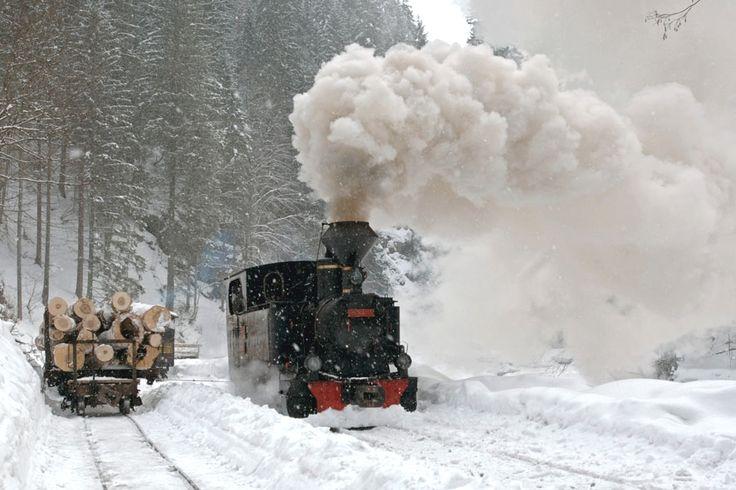 Mocanita Train in a winter landscape, Romania.