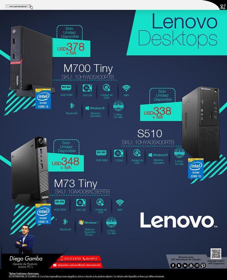 Lenovo Desktops: Contacta a tu gerente de producto para más información: Diego Gamba Celular: 313 212 8723 Email: diego.gamba@sed.international #LENOVO #SEDCOLOMBIA #SEDINTERNATIONAL