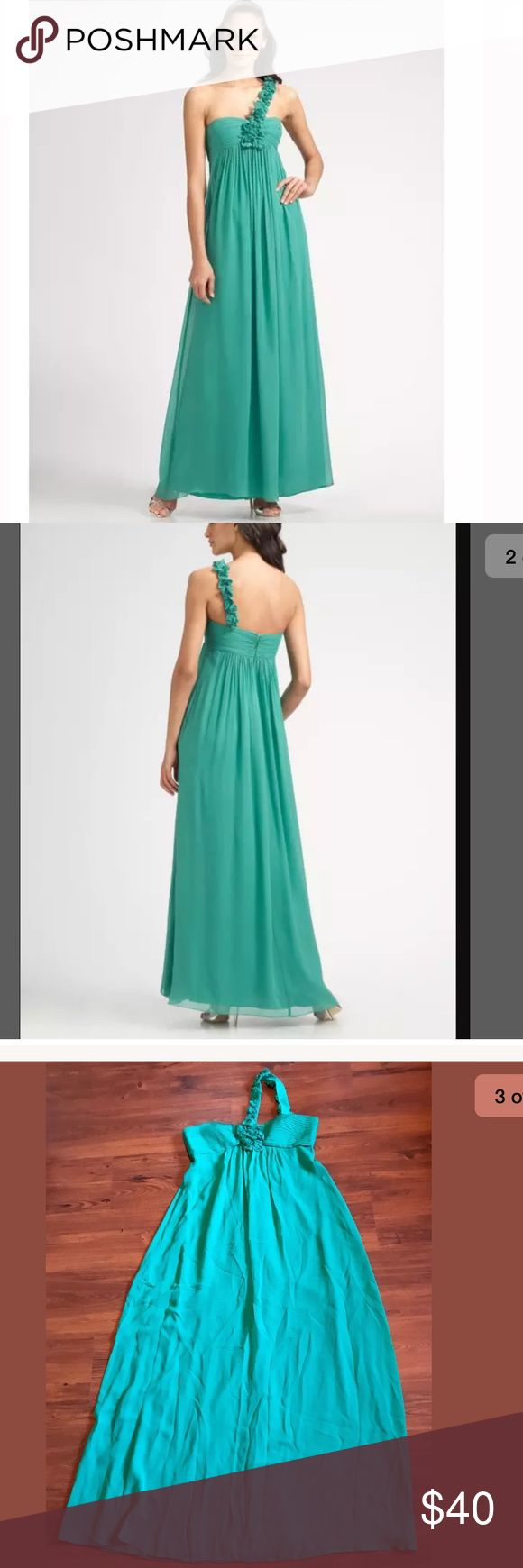 """BCBGMAXAZRIA One-Shoulder Rosette Band Gown BCBGMAXAZRIA One-Shoulder Rosette Band Gown in Emerald Size 10  Dress is preowned, but is in good used condition. Does not have any holes, tears, rips, or stains. Does have some minor snags in some spots - typical of silk dresses.   Retailed for ~$250.    Approximate Measurements:   Armpit to armpit: ~18""""   Shoulder to bottom hem: 51""""   Waist (natural, lying flat): 16.25"""" BCBGMaxAzria Dresses"""