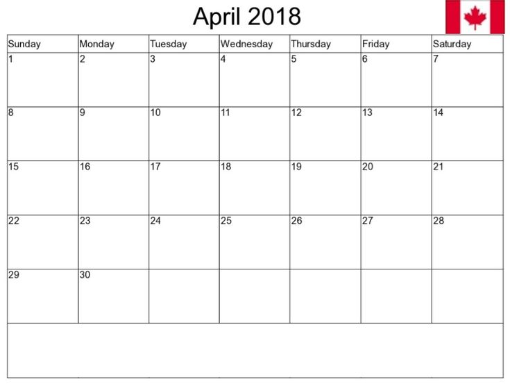 April 2018 Canada Calendar   Calendar2018   Pinterest ...