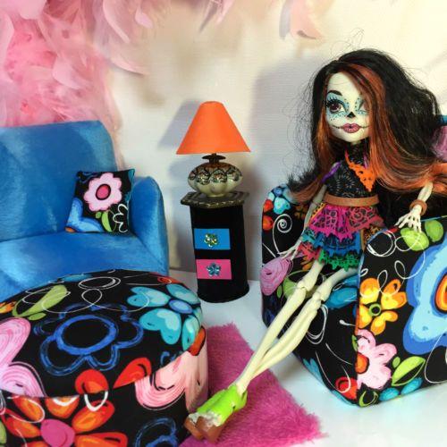 pinkrosemh-Couch-Sessel-Moebel-Set-fuer-Barbie-Haus-BJD-MSD-Monster-High-Skelita