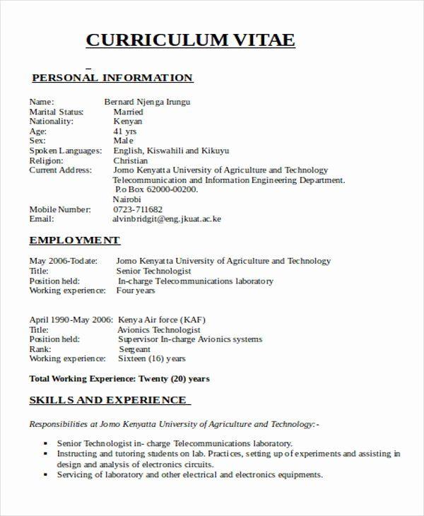 Pin Di Job Resume Format