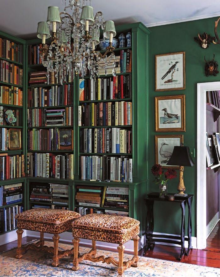 green walls and stools